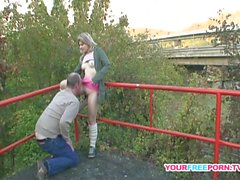 Chubby Blonde Teen gets fucked by a stranger in public