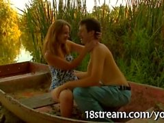 Racy hot boat blowjob