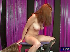 Horny Redhead with huge tits orgasms on sex machine