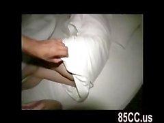 teen gives titsjob to stranger on bed