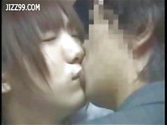 Innocent schoolgirl sucking geek on bus