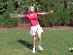 Cock loving bosomy cheerleader Madison Scott
