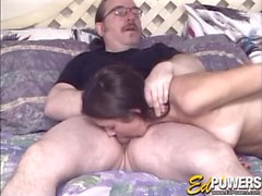 Stunning tits on this babe sucking old guy cock