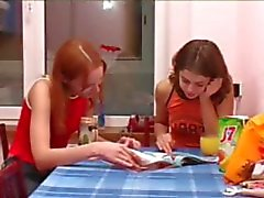 Masha and Ivana teens peeing on toilet