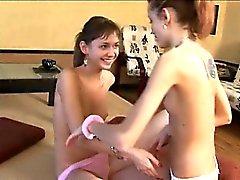 Skinny girl2girl eating hairy cunts