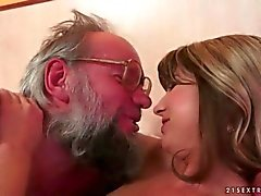 Old man and a pretty cute teen making love