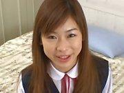 Schoolgirl Ami Hinata first time doing a handjob