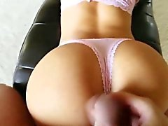 Busty beauty gobbles pov cock