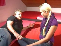 Amazing teen in pigtails blows her uncle