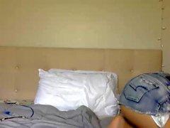 Webcam teen plays solo