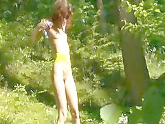 posing pussy in the forest