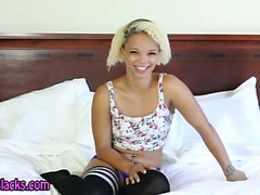 Ebony teen shows tits