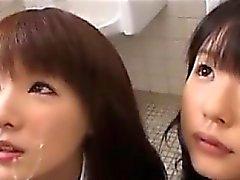Sweet Japanese Schoolgirls Sharing Cum