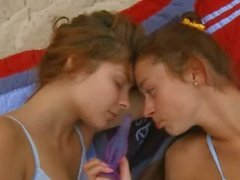 Lesbian babes teasing each other