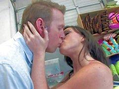 Sex starved babysitter Jennifer White seduces a Man