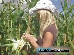 Busty teenage gf pussy banged in corn part1