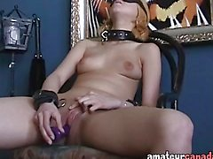 Kinky amateur toys her pussy