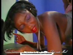 Sexy ebony babe gets shared just like a slut