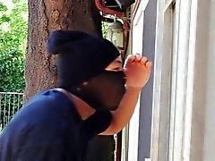 Teen fucks ebony intruder