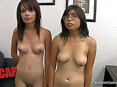 Cute casting couch session with two girls