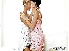 Horny lesbian teens Stephanie and Melanie B pleasuring pussy