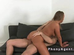 Tanned amateur bangs to creampie