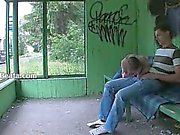 Our first garden sex on the bus station
