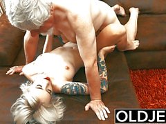 Sexy Tattooed hooker fucked by old man she swallows his cum