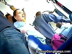 White Cheerleader in Tokyo Bus!