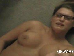 Brunette in glasses eats cock in POV close-up