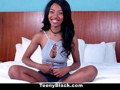 TeenyBlack - Peite Ebony Teen Grinds White Cock
