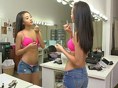 Skinny 18 year old Alina Li preparing herself for a shoot