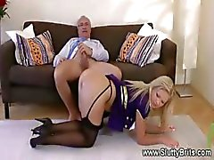Teen seduces grandpa with her round butt