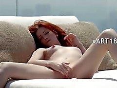 fluent redhead opening vagina outside