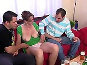 Hot 3some with mature chick after couple of beers
