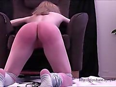 Petite young girl kneeling bound and flogged hard by a old man