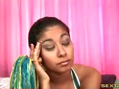 Latina teen cheerleader sucks old man dick
