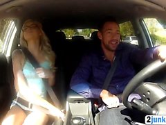 Teen Hitchhiker Blonde Riding Big Cock Blowjob Glasses