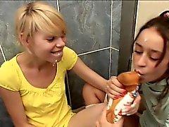 Tickling pussy in a bath