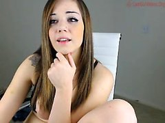 Busty amateur teen girl toying her pussy on webcam