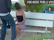 Amateur gets surprise public cumshot