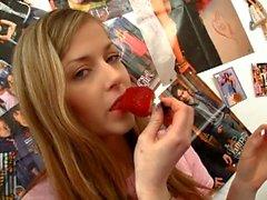 Naughty teen tasting her own pussy juice