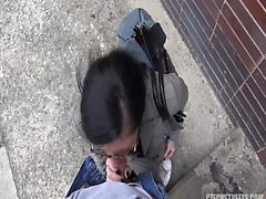 Brunette wife fucked outside on the way to work