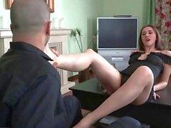 Using her feet to make him cum hard