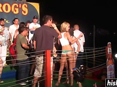 Nasty girls pose naked on the stage