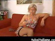 Sexy blonde cougar tries to seduce an Italian teen