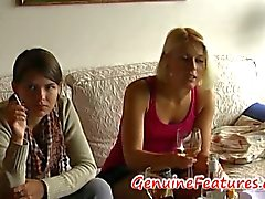 Two friends smoke and drink and then blonde blows