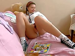 Schoolgirl Klara with nice tits and ass plays with herself