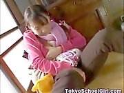 Japanese schoolgirl clothed masturbation