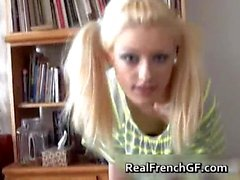 Blonde emo slut with pigtails strips part2